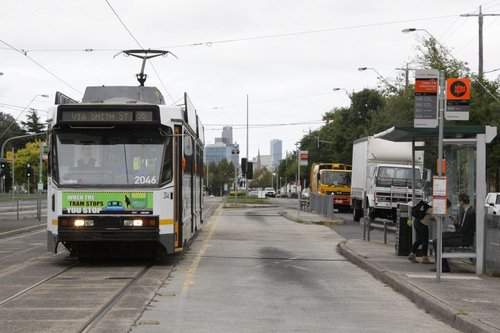 B2.2046 passes the bus stops at the Clifton Hill interchange