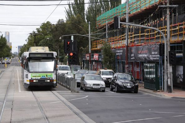 Stopped at the traffic lights at Brunswick Street, B2.2039 heads north up Lygon Street