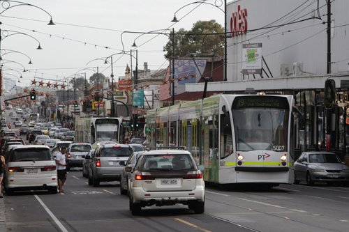D2.5007 leads a trio of northbound route 19 trams stuck in traffic on Sydney Road, Coburg