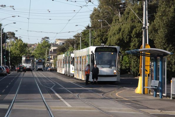 D2.5016 leads a row of stabled trams in Showgrounds Loop for Stakes Day at Flemington