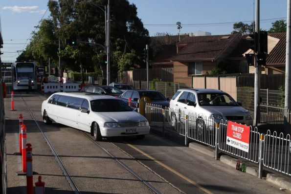 Tram stop 30 on Epsom Road closed, to create an extra lane for cars leaving Flemington Racecourse