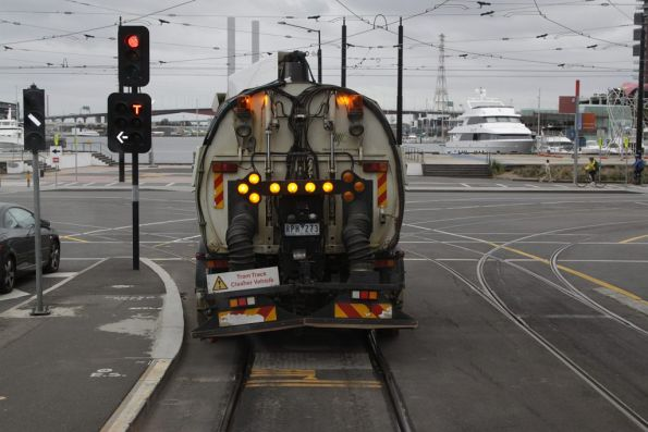Following the Yarra Trams street sweeper along the tracks