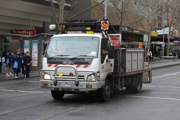 Isuzu light track fitted out as a track maintenance vehicle for Yarra Trams