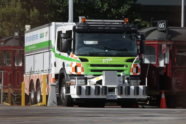 New Yarra Trams recovery truck at Southbank depot, registration plate ZPV 904