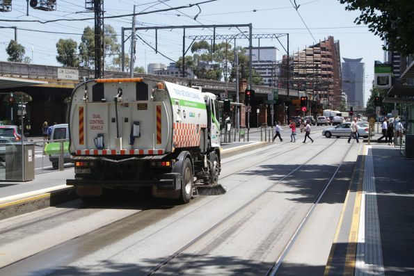 New PTV liveried track cleaner at work on Flinders Street