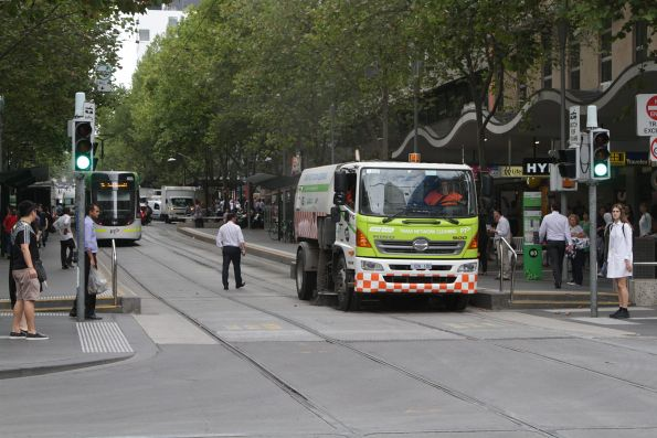 Yarra Trams track cleaner westbound at Bourke and Swanston Street