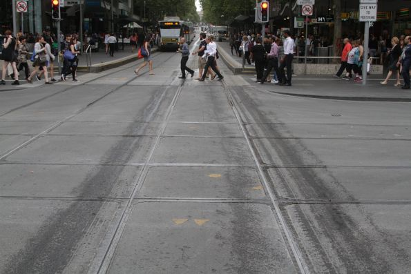 Clean but wet tracks after the Yarra Trams track cleaner has passed by