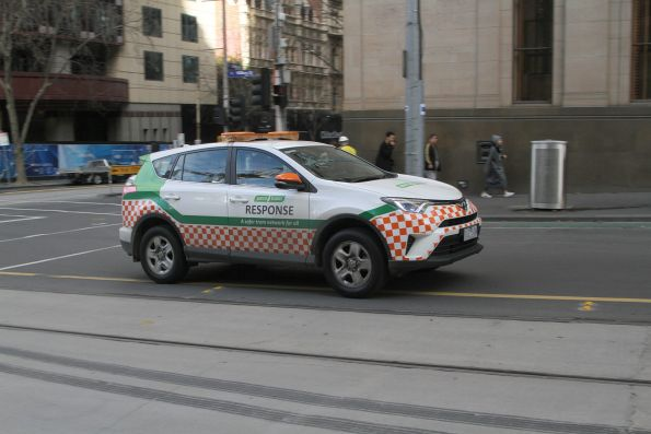 Yarra Trams operations vehicle heads north at William and Collins Street