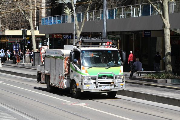 Yarra Trams network response truck heads north at Swanston and Collins Street