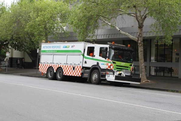 Yarra Trams operations vehicle parked between jobs at Clarendon and Dorcas Street