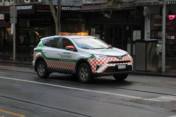 Yarra Trams response vehicle heads north at Swanston and Lonsdale Street