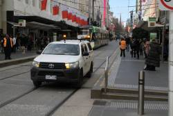 Yarra Trams crew cab ute between jobs at Bourke and Elizabeth Street