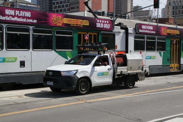 Yarra Trams ute heads south at Federation Square