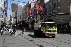 Yarra Trams track clearer heads east at Bourke and Swanston Street