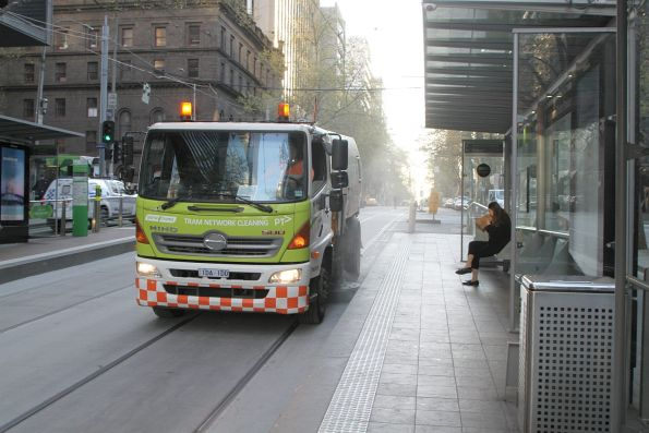 Yarra Trams track cleaning truck heads west at Bourke and William Street