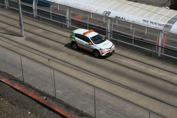 Yarra Trams incident response car heads down the tram reserve at Melbourne Park