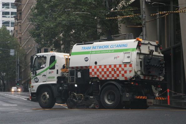 Yarra Trams track cleaner heads north at William Street and Flinders Lane