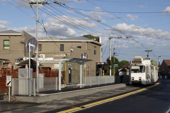 Awaiting departure from the route 67 terminus in Carnegie, Z3.225 sits at the platform stop on Truganini Road