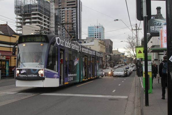 D1.3508 stops for passengers on route 8 outside South Yarra station