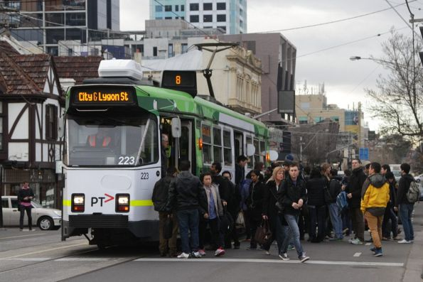 Passengers swarm Z3.223 on route 8 outside South Yarra station