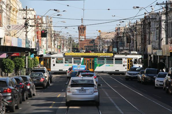 Z3 class tram on route 5 heads east at Wattletree and Glenferrie Roads