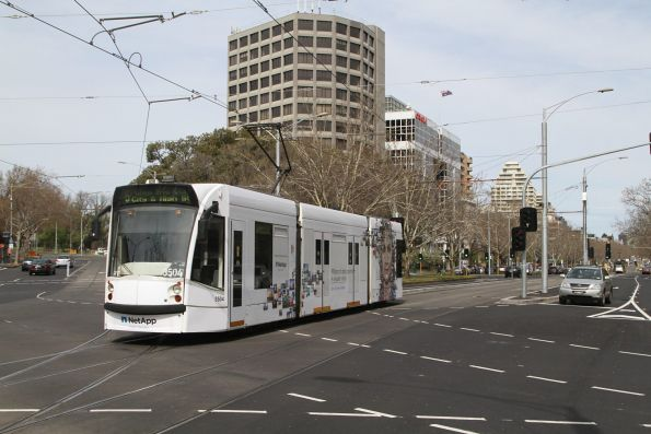 D1.3504 advertising 'NetApp' heads south on route 6 at St Kilda Road and Toorak Road