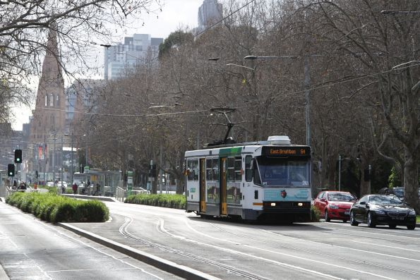 A1.241 heads south along St Kilda Road on a route 64 service at Southbank Boulevard