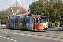 Z3.189 advertising 'Calvin Klein' northbound on St Kilda Road at the Arts Centre