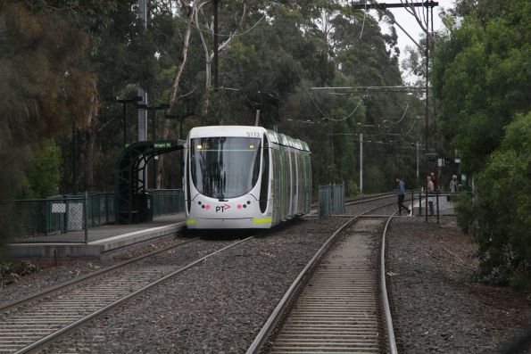 C2.5113 citybound on route 96 at the Wright Street stop on the St Kilda light rail