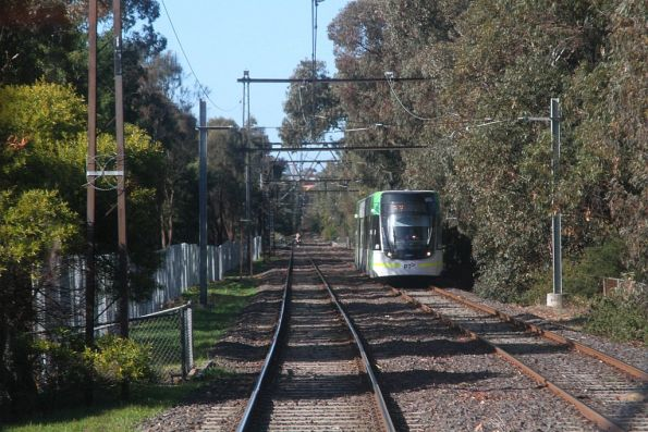 Approaching a northbound E class tram on route 96 at Middle Park