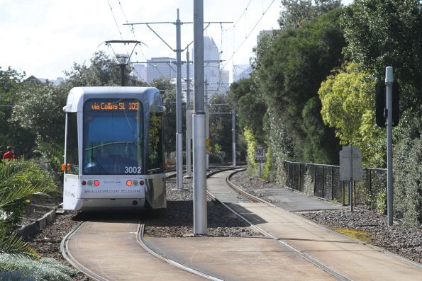 C.3002 on route 109 departs Port Melbourne for the city