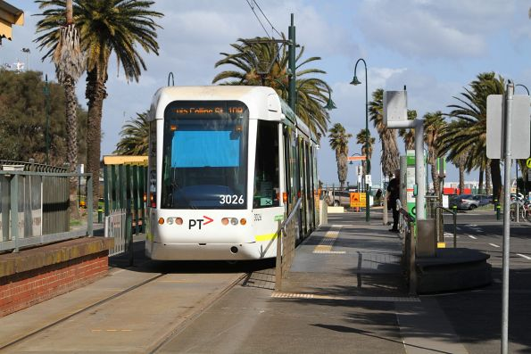 C.3026 awaiting departure time from the route 109 terminus at Port Melbourne