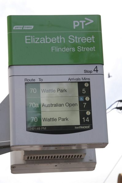 Route 70a shortworkings to the Australian Open displayed in TramTracker