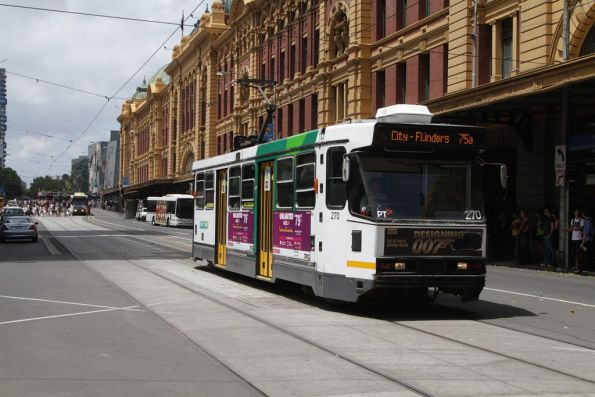 A2.270 with a route 75a shortworking heads west at Flinders and Elizabeth Streets