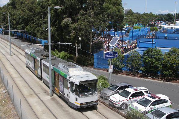 B2.2008 passes the outside courts at Melbourne Park on a citybound shuttle