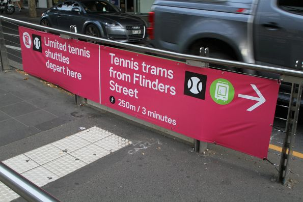 Signage outside Southern Cross Station directing tennis fans to trams on Flinders Street