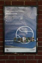 'See you courtside, Melbourne' poster promoting route 70 trams to the Australian Open tennis