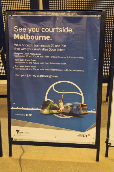 'See you courtside, Melbourne' poster promoting route 70 trams to the Australian Open