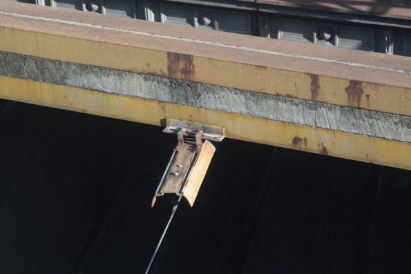 Insulated fibreglass trunking for the overhead wire passing beneath a low bridge