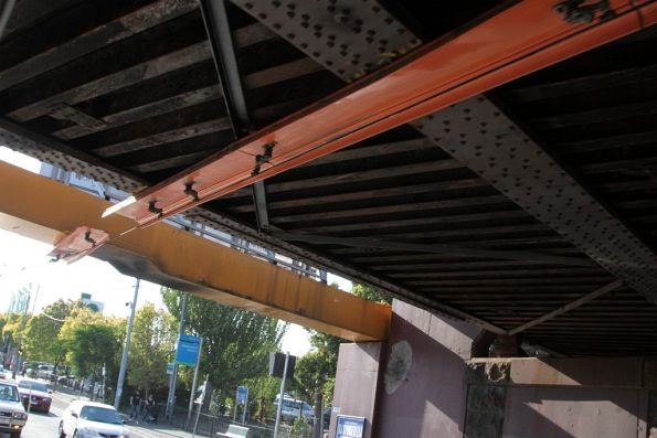 Fibreglass trunking protecting the Newmarket railway bridge from the tramway overhead
