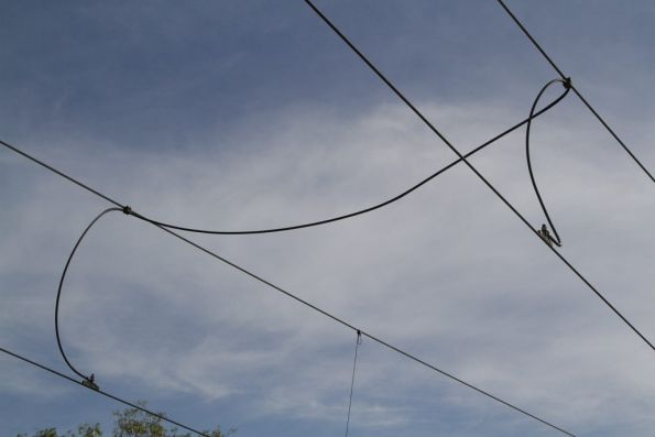 Railway style jumper between catenary and contact wires on the Port Melbourne light rail
