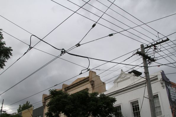 Endpoint of the additional pair of feeder cables along Gertrude Street, just west of Smith Street