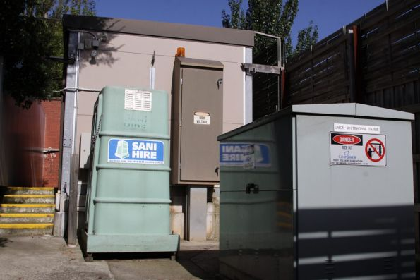 Substation 'Bx': porta loo, modular transformer, and a demountable hut housing the electrics
