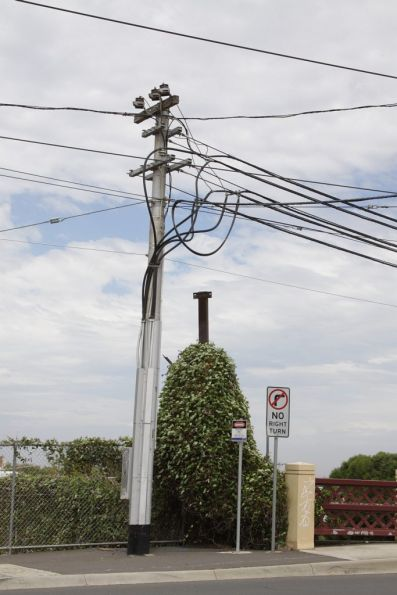 Substation 'A': feeder cables emerge from underground and head west on Maribyrnong Road