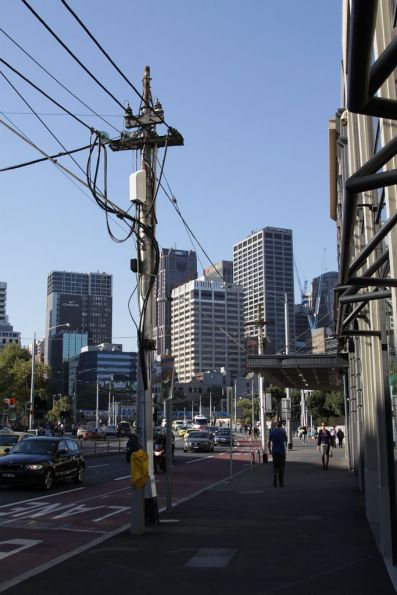Substation 'S': traction feeds head underground at the edge of the CBD: Queensbridge Street south of the Yarra River