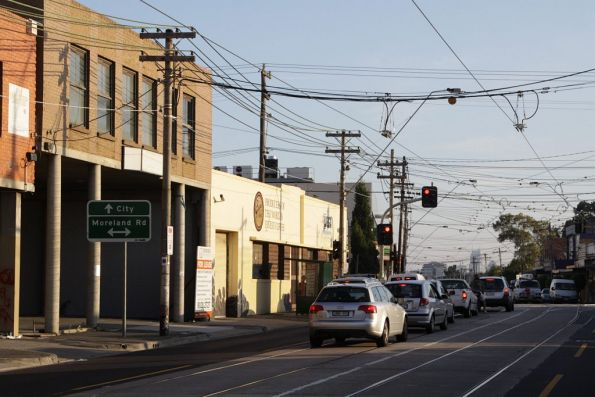 Substation 'Co' traction feeders to route 1 on Nicholson Street, looking back to Moreland Road