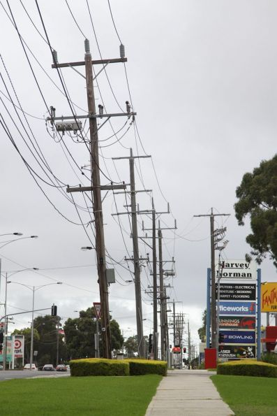 Substation 'Mg' traction feeders head north on Rosamond Road