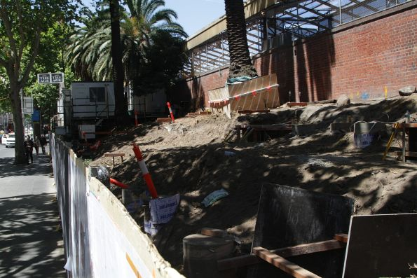 Work starts on a new tram substation on Flinders Street, next to the Banana Alley Vaults