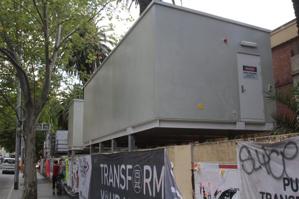 Almost completed tram substation on Flinders Street, next to the Banana Alley Vaults