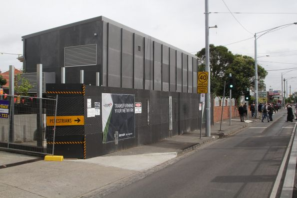 New tramway traction substation 'Br' opposite the East Brunswick tram terminus